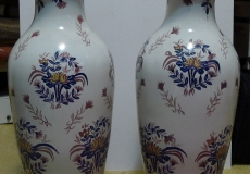 2  Large Hand-Painted Asian Vases with Maker\'s Mark