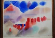 Original Abstract Watercolor 1980-Erle Loran San Francisco Artist