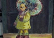 Original Gouache Painting Portrait of a Young Chinese Girl with Fan in the Style of Esther Hunt (1875-1951)
