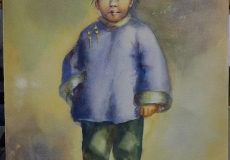 Original Gouache Painting Portrait of a Young Chinese Boy in the Style of Esther Hunt (1875-1951)
