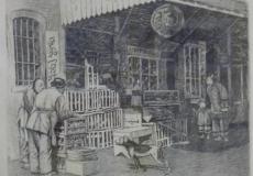 Original Etching of San Francisco Chinatown Market Scene Signed