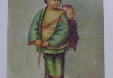 Original Signed Gouache (Watercolor) Painting Portrait of a Young Chinese Mother & Child