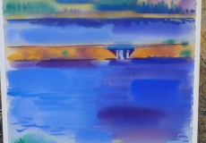Original Abstract Watercolor 1979-Erle Loran San Francisco Artist
