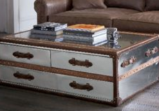 Timothy Oulton Silver (metallic) Mayfair 3 Drawer Trunk/Coffee Table