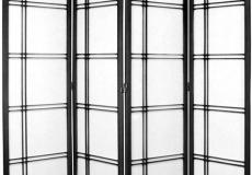 Black Shoji Screen 7-ft tall Double Cross design