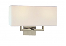 Double wall sconce with white linen shade