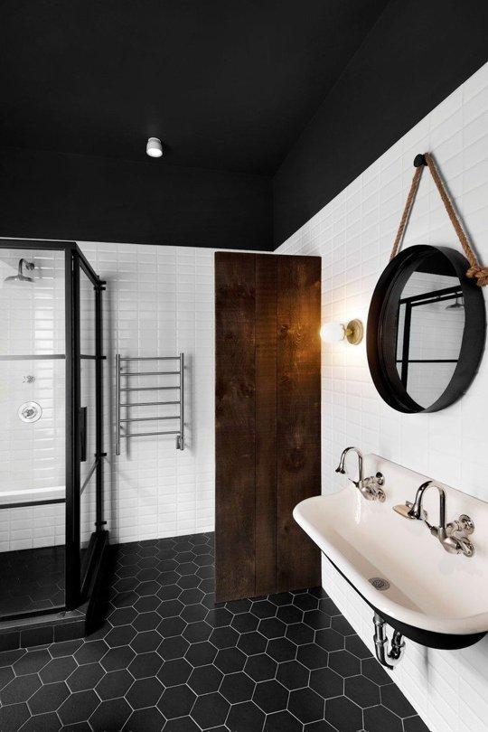 Black Hexagon Floor Tiles Ceiling Round Mirror Modern Bathroom