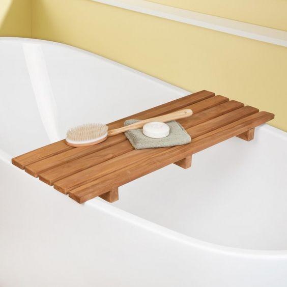 Teak Bathtub Shelf