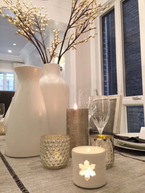 Christmas and New Years Table, West Elm Vases, Crate and Barrel Charges and Berry Branches, Cost Plus table linens and Mercury Glass Candle Holders, Chicago Ceramics, Vera Wang Stemware