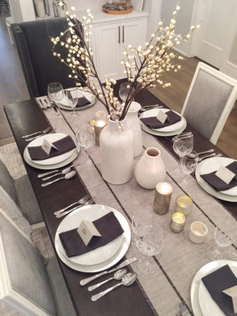 Christmas and New Years Table, West Elm Vases, Crate and Barrel Charges and Berry Branches, Cost Plus table linens and Mercury Glass Candle Holders, Chicago Ceramics