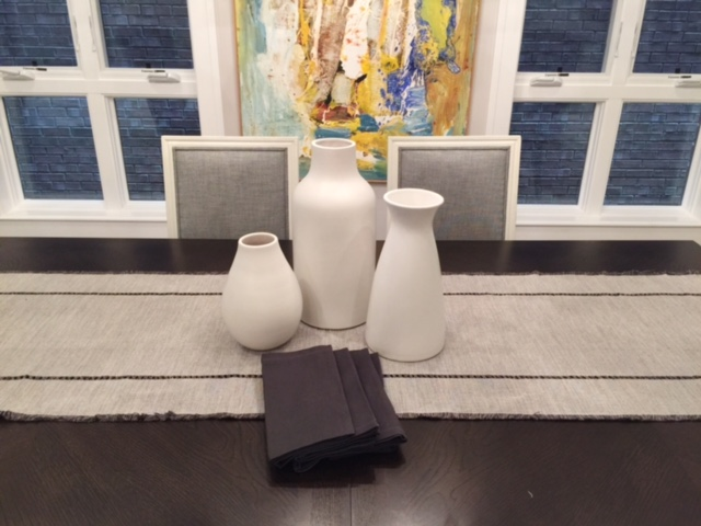 Dining Table by One Kings Lane, West Elm Vases, Runner and Napkins from Cost Plus World Market