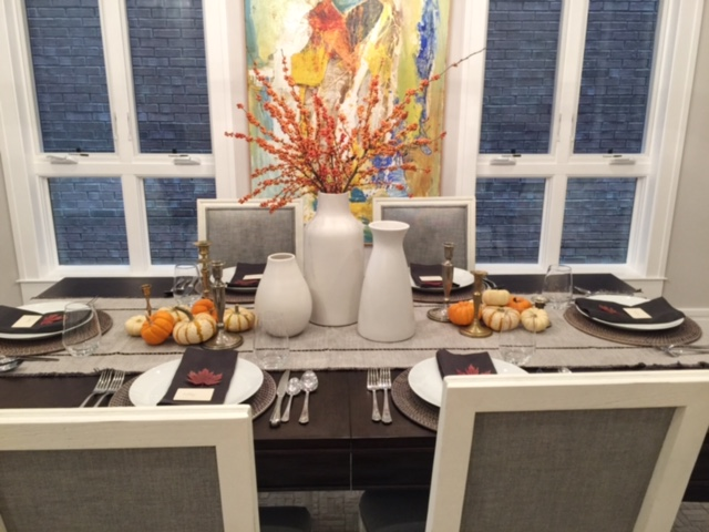 Thanksgiving Table Scape, West Elm Vases, Cost Plus World Market napkins and table runner, mini pumpkins
