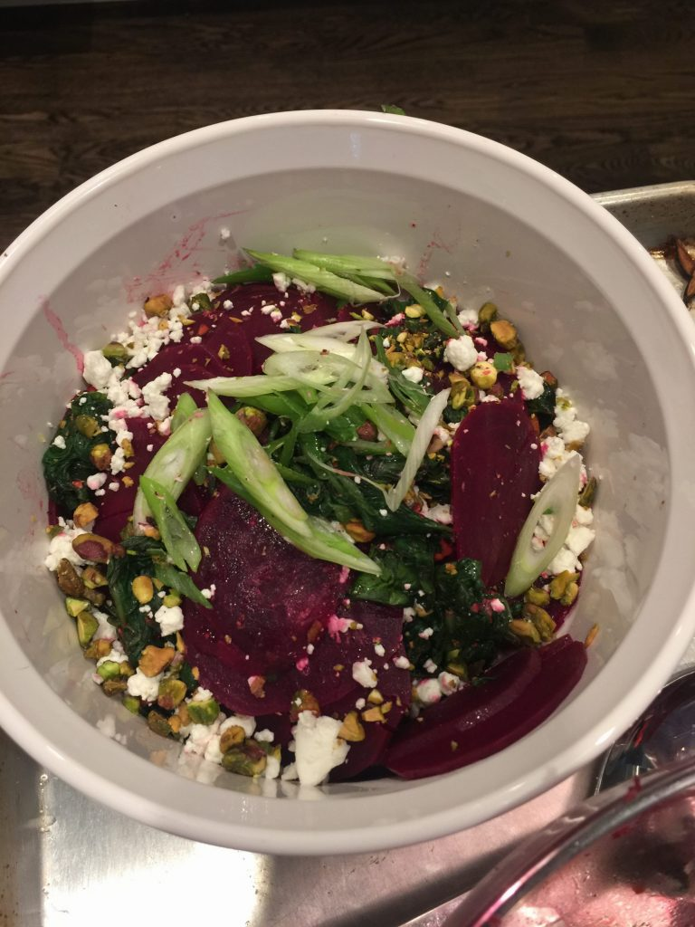 Amanda Skrip Cooking Class Beets with Spinach, Goat Cheese + Pistachio