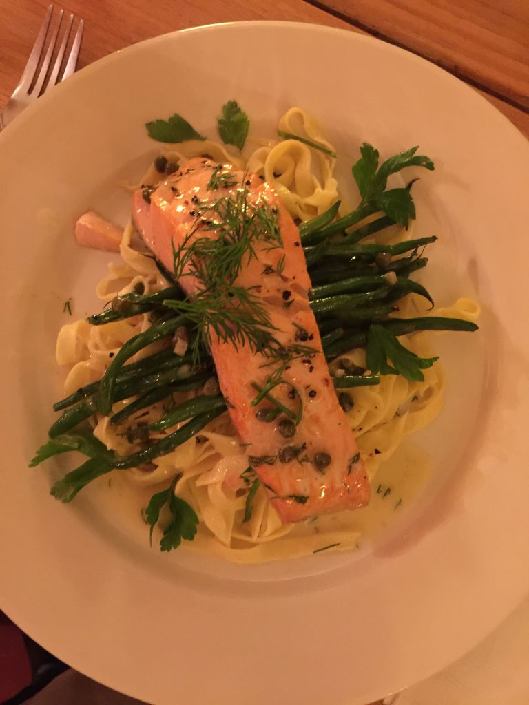 Cook Au Vin, Salmon with Fresh Pasta and Haricot Vert