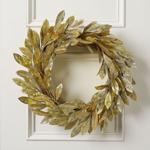 West Elm Kraft Glitter Gold Leaf Wreath