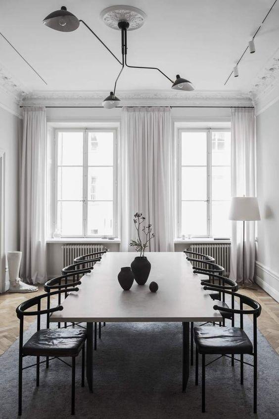 Modern black chandelier
