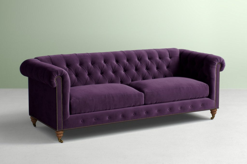 Lyre Chesterfield Sofa in Eggplant | Anthropologie