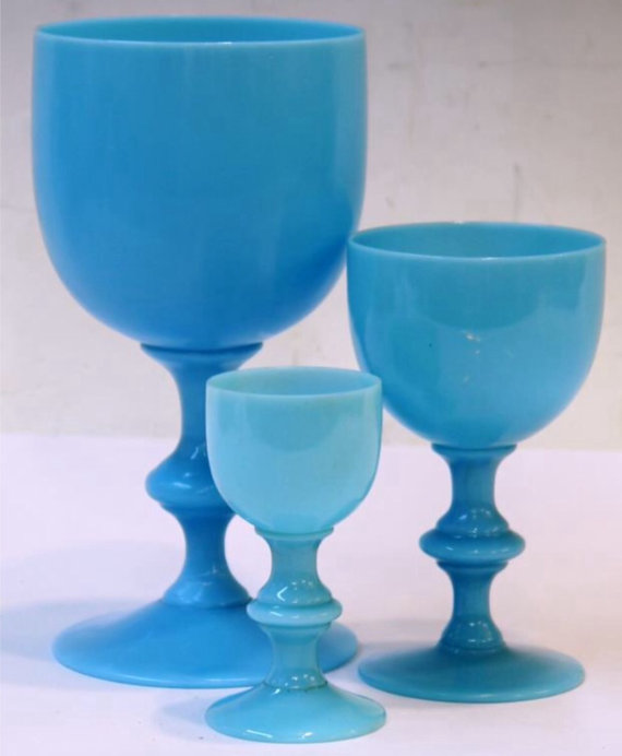 French Blue Opaline Goblets