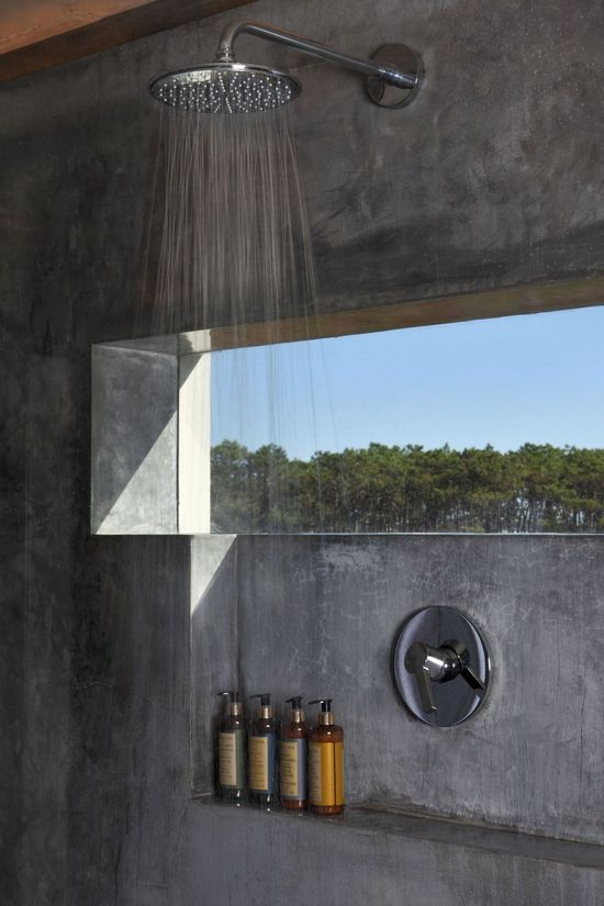 Contemporary shower with window