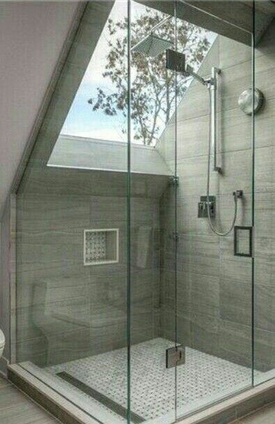 Concrete Shower with a window