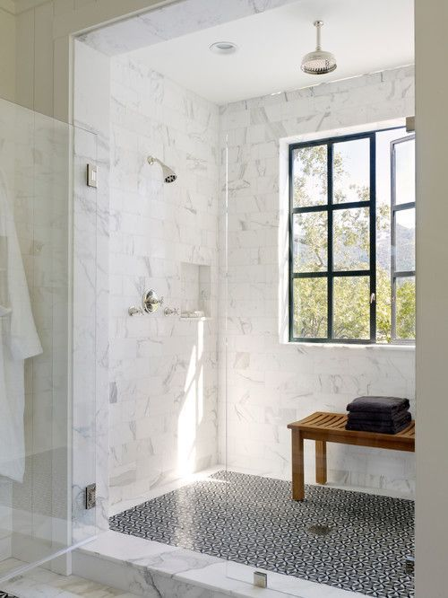 Shower with black paned windows