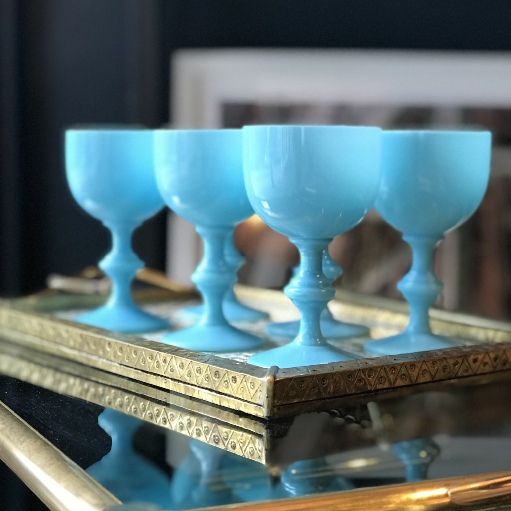 Vintage Opaline French Goblets