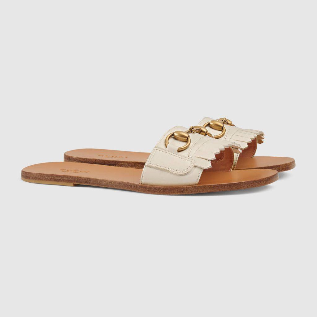 Fringe Leather Horsebit Sandals