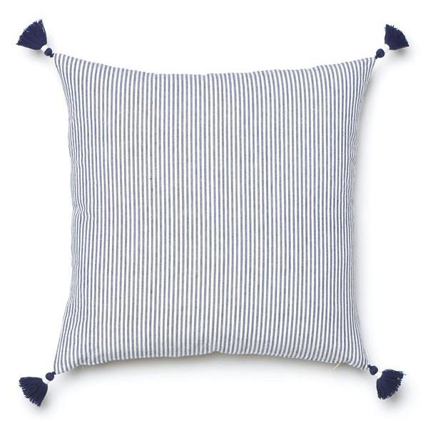 Summer Stripes: Navy French Stripe Pillow | RevolvingDecor.com